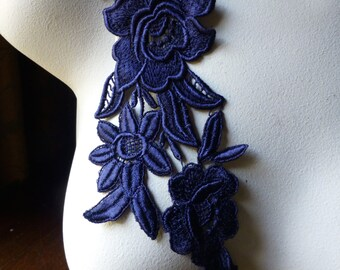 Navy Blue  Lace Applique with Triple Flowers Venice Lace for Bridal, Costume Design CA