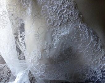 SALE Off White Eyelash Alencon Lace for Bridal Gowns, Clutches, Headpieces, Home Decor AL