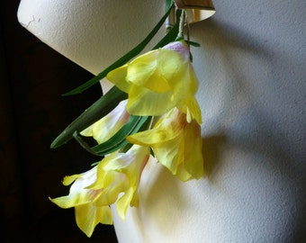 Silk Millinery Flowers Freesia in Golden Yellow for Bridal, Boutonnieres, Hats, Corsages, Bouquets MF 242gy