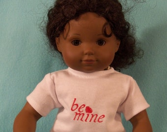 15 inch Doll Short Sleeved White Valentine's Day Tee Shirt