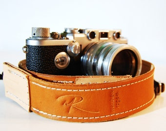 Camera Strap Deluxe Stitched Range Tan Leather Custom Monogram Engraving for Photographers Ideal for DSLR Canon Nikon and all Cameras
