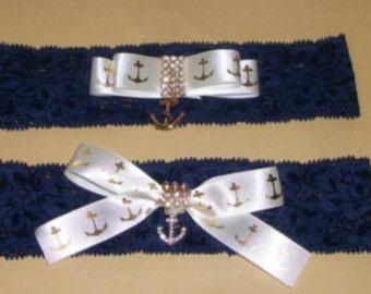 Something Blue,WeddingGarter,Bridal Garter,Navy Garter,Yellow and Navy wedding,Beach Wedding,Yellow Garter Set