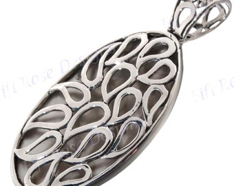 "1 5/8"" Mother Of Pearl Shell 925 Sterling Silver Pendant"