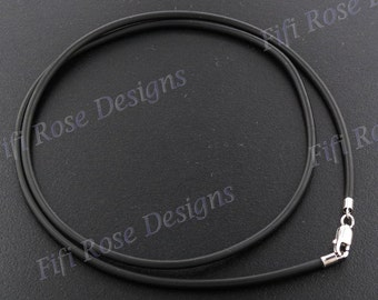 """16"""" 2mm Black Rubber Cord 925 Sterling Silver Necklace"""