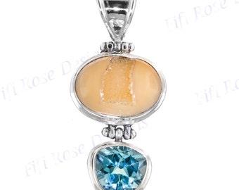 "1 7/16"" Amazing Blue Topaz Druzy Drusy 925 Sterling Silver Pendant"