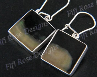 """5/8"""" 2-tone Mother Of Pearl Shell 925 Sterling Silver Earrings"""