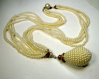 Big White Pearl Tassel Pendant On 4 Strands of Tiny Pearl Necklace, 1970s