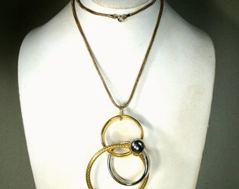 Geometric Circles Pendant on Gold Snake Chain, Silver and Gold Metals, 1980s