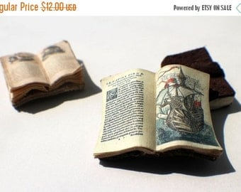ON SALE Miniature Open Book --- Ship