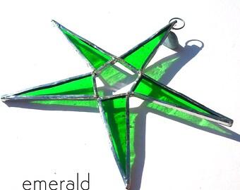 Emerald Green Stained Glass Star Suncatcher