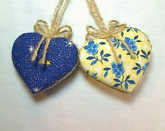 Yellow/Navy Heart Ornaments | Summer Decor | Tree Ornament | Holidays | Party Favors | Decoration | Folk Art | Wedding Bridal | Set/2 #6