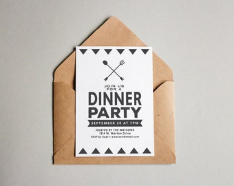 PRINTABLE Modern Black and White Simple Dinner Party Adult Birthday Party Corporate Event Invitation