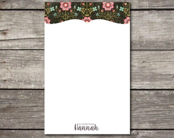 Personalized Floral Notepad Teacher Gift Coworker Gift or Office Supply