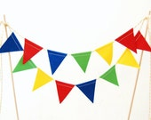 Birthday Cake Bunting Topper in Red, Yellow, Royal Blue, Green -- Party Decoration -- solid colors, cloth, fabric flags