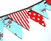 Sock Monkey Party Decoration, MINI Birthday Banner Bunting Flags, Photography Prop, in aqua blue, red & brown fabric