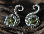 Olive Crystal Swan Earrings