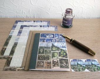 Postage Stamp Letter Set | Blue Green Spring Landscape Writing Set | Vintage Travel, Postal Theme - Notepaper, Notecard, Envelopes, Seals
