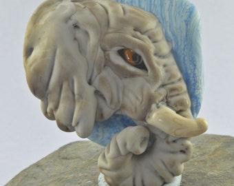 Elephant Profile Bas Relief  Focal Bead Sculpture - Flameworked Glass Bead - Handmade Lampwork Glass Sculpture Bead