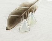 Triangle Chalcedony Studs. Pale Aqua Stone. Sterling Silver Posts. Statement Earrings. Stone Earrings. Icy Blue Earrings. Post Back Earrings