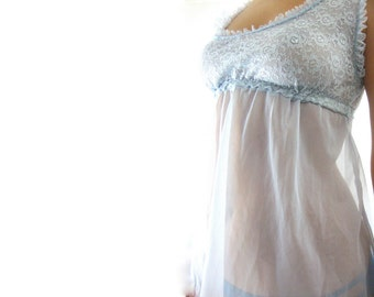 60s ethereal sheer blue nightie / lingerie / sleep / s