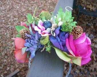 Renaissance Enchanted Garden fairy faerie wedding bridal floral headpiece fastener woodland fairytale bridal