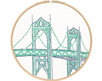 PORTLAND'S ST JOHNS Bridge embroidery kit - hand embroidery kit, architecture embroidery, travel souvenir, embroidery hoop art by StudioMME
