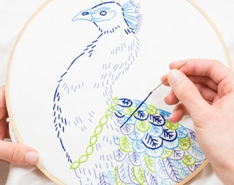 PEACOCK ROYALE embroidery kit - hand embroidery kit, embroidery hoop art, peacock, royalty, embroidery pattern by StudioMME