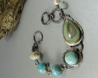 Beach Bum Turquoise and Imperial Jasper Bracelet Amazonite Beads  charms Charm Sterling Silver original modern blue green ocean sea rich