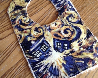 Exploding Tardis Baby Bib,  Chenille Back, Snap Closure, Doctor Who, ready to ship