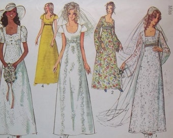 70's Simplicity Wedding Gown Sewing Pattern 9936 Boho Formal Gown Bell Sleeves, Sweetheart Neckline Bridesmaid Dress Size 12 Retro Wedding