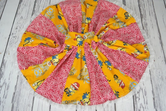 custom boutique twirl dress made with minions fabric size  5t ready to ship sale