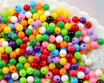 6mm Tiny Round Acrylic Beads - Gumball Bubblegum Plastic or Resin Beads - Mixed Colors, Small Size Beads - 500 pc set