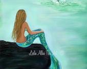 """Mermaid Art Print Mermaid Art Mermaid Painting Art Print Mermaid Wall Art  Whale Art  """"Watching The Splash"""" Leslie Allen Fine Art"""