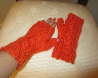 Orange Hand-Knit Fingerless Gloves
