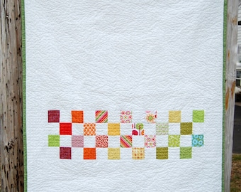 Mini Squares Modern Patchwork Baby Toddler Child Crib Quilt / Blanket - READY TO SHIP