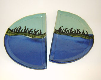 Ocean Inspired Half Plate Set of Two for Serving and Decor