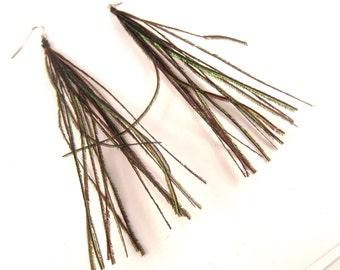 Peacock herl Danglers earrings