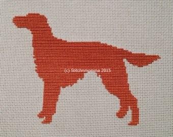 15006 Irish Setter Dog Silhouette - Original Design Cross Stitch PDF Pattern - DIGITAL DOWNLOAD