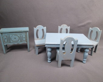 Vintage Strombecker Dollhouse Furniture - Dining Room in Blue - 3/4 Scale
