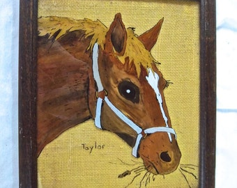 Vintage Reverse Painting Horse on Glass Framed Burlap Back Equestrian Home Decor Wall Hanging Vintage Decor