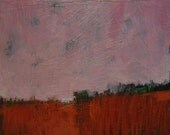 """Pink Day Breaking - Original Acrylic Oil Encaustic Landscape Painting - 10""""x 10"""""""