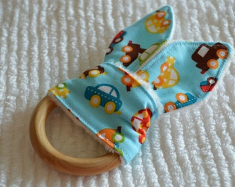 """Mini CARS Natural Wood Teething Toy w/ cotton and minky """"Bunny Ears"""""""