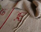 B553 antique chic grainsack rouge FRANÇAIS vacances sentiment oreiller coussin français lin 39.37wide action de grâces