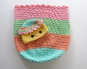 Ready To Ship - Handmade Crochet Easter Chick Cocoon and Hat - Newborn Crocheted Baby Chick Photoprop