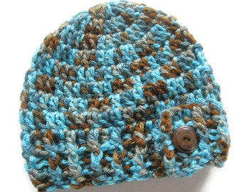 Ready To Ship - Crochet Turquoise and Brown Baby Hat - Crochet Turquoise & Brown Beanie Button Flap - Newborn Baby Hat