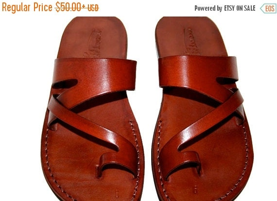 15% OFF Brown Zing Leather Sandals for Men & Women - Handmade Unisex Sandals, Flip Flop Sandals, Jesus Sandals, Genuine Leather Sandals