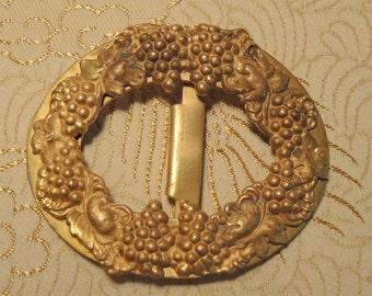 Large Victorian Gold Metal Belt Buckle - Grape Cluster Design