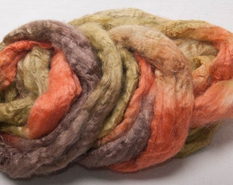 Hand painted Tussah Silk roving tops 50g spinning Fibre Fiber Fallow