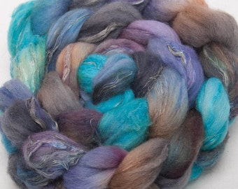 Hand dyed spinning fibre 23 mic. Merino-Tussah Silk -Natural Flax Handpainted fibre fiber roving - Tuscan Twilight