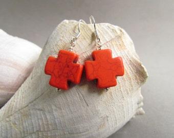 Red Orange Cross Earrings, Beaded Jewelry, Howlite, Western Cowgirl, Colorful, Gift Giving, Crosses, Southwest, Boho, Harleypawws, SRAJD